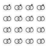 Grupo de ícones das alianças de casamento, ilustração do vetor Imagens de Stock Royalty Free