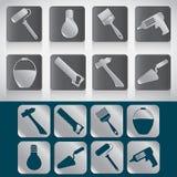 Grupo de ícones das ferramentas para a construção ou o reparo da casa Fotos de Stock Royalty Free