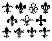 Grupo de ícones das flores de lis Imagens de Stock Royalty Free