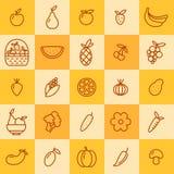 Grupo de ícones das frutas e legumes Ilustração Stock
