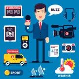 Grupo de ícones das notícias de última hora Imagem de Stock Royalty Free