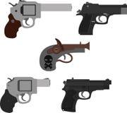 Grupo de ícones das pistolas Ilustração isolada das armas fotos de stock