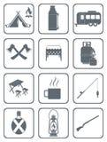 Grupo de ícones de acampamento do equipamento Fotografia de Stock Royalty Free