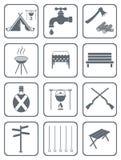 Grupo de ícones de acampamento do equipamento Imagem de Stock Royalty Free