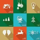 Grupo de ícones, de bandeiras e de cartões para o Natal e  Imagens de Stock Royalty Free