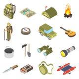 Grupo de ícones de caminhada e de acampamento Imagem de Stock Royalty Free