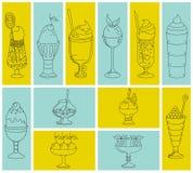 Grupo de ícones de cocktail doces, sobremesas, gelado Fotografia de Stock