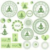 Grupo de ícones, de ilustrações e de logotipos no tema da ioga Imagem de Stock