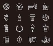 Grupo de ícones de Italia Fotografia de Stock
