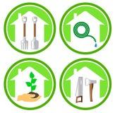 Grupo de ícones de jardinagem do conceito Imagem de Stock