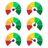 Grupo de ícones de medição O velocímetro ou o medidor de avaliação assinam elementos infographic do calibre ilustração royalty free