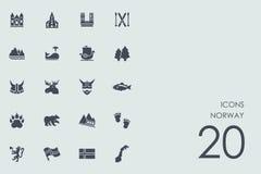Grupo de ícones de Noruega Foto de Stock
