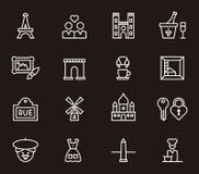 Grupo de ícones de Paris e de França Fotografia de Stock