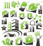 Grupo de ícones, de símbolos e de sinais da casa