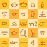 Grupo de ícones de tipos diferentes de cookware Ilustração Stock