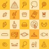 Grupo de ícones de tipos diferentes do alimento Ilustração Stock