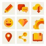 Grupo de ícones de uma comunicação e da tecnologia Ilustração do Vetor