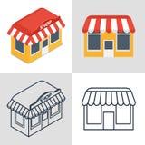 Grupo de ícones de uma loja pequena Fotos de Stock