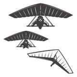 Grupo de ícones deltaplan isolados no fundo branco Elem do projeto ilustração stock