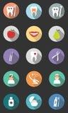 Grupo de 15 ícones dentais Projeto liso moderno com sombras longas Foto de Stock Royalty Free