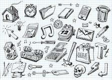 Grupo de ícones desenhados mão Foto de Stock Royalty Free