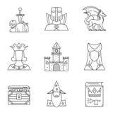 Grupo de 9 ícones detalhados altos do reino mágico O dragão, o cavaleiro, espada mágica e etc. Estilo linear moderno Fotografia de Stock Royalty Free
