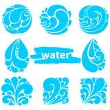 Grupo de ícones diferentes brilhantes azuis da gota da água Logotipo da gota da água fotos de stock royalty free
