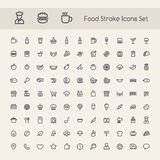 Grupo de ícones do alimento do curso Foto de Stock Royalty Free