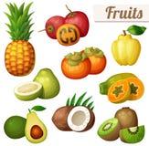 Grupo de ícones do alimento dos desenhos animados isolados no fundo branco Frutas exóticas Imagens de Stock