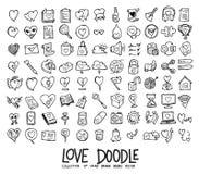 Grupo de ícones do amor que tiram a linha tirada mão vetor eps10 do esboço da garatuja da ilustração ilustração do vetor