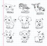 Grupo de ícones do animal da garatuja Foto de Stock