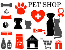Grupo de ícones do animal de estimação Fotografia de Stock