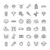 Grupo de ícones do animal de estimação na linha estilo fina moderna Fotografia de Stock Royalty Free