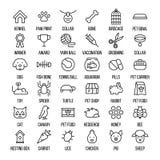 Grupo de ícones do animal de estimação na linha estilo fina moderna Foto de Stock
