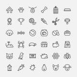 Grupo de ícones do animal de estimação na linha estilo fina moderna Imagem de Stock