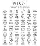 Grupo de ícones do animal de estimação na linha estilo fina moderna Fotos de Stock Royalty Free