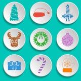 Grupo de ícones do ano novo e do Natal Projeto liso multicolored Vetor ilustração do vetor