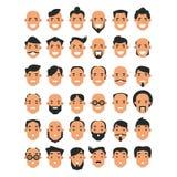 Grupo de ícones do avatar no estilo liso As cabeças dos homens com um d Fotografia de Stock
