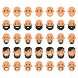 Grupo de ícones do avatar no estilo liso Homens principais com emoti diferente Imagem de Stock