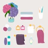 Grupo de ícones do banheiro do vetor e da higiene pessoal ilustração stock