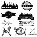 Grupo de ícones do BBQ isolados no branco,  Imagens de Stock