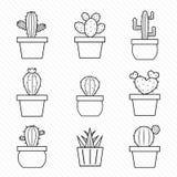 Grupo de ícones do cacto Fotografia de Stock