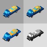 Grupo de ícones do caminhão de reboque de estilos diferentes ilustração stock