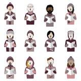 Grupo de ícones do cantor da música de natal do Natal ilustração do vetor