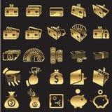 Grupo de ícones do dinheiro Imagens de Stock Royalty Free