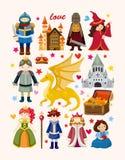 Grupo de ícones do elemento do conto de fadas Fotografia de Stock
