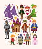 Grupo de ícones do elemento do conto de fadas Fotos de Stock Royalty Free