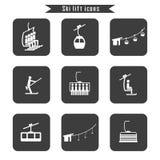 Grupo de ícones do elevador do cabo do esqui para o esqui e os esportes de inverno ilustração royalty free
