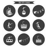 Grupo de ícones do elevador do cabo do esqui para o esqui e os esportes de inverno ilustração do vetor