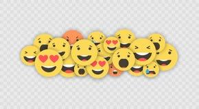 Grupo de ícones do emoji Caras engraçadas com emoções diferentes Ícones lisos do estilo de Emoji Reações sociais dos meios Vetor ilustração do vetor